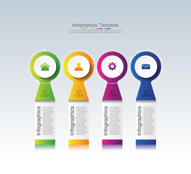 Presentatie zakelijke infographic sjabloon kleurrijk met vier stappen
