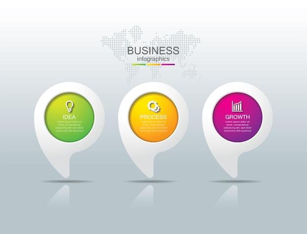 Presentatie zakelijke infographic sjabloon met 3 stappen