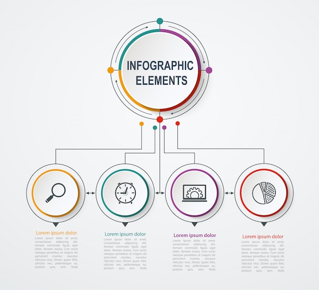 Presentatie zakelijke infographic sjabloon met 4 opties. bedrijfsconcept met geïntegreerde cirkels.