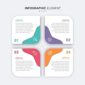 Presentatie zakelijke infographic sjabloon met 4 opties vectorillustratie