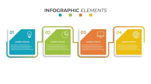 Presentatie zakelijke infographic sjabloon met 4 opties