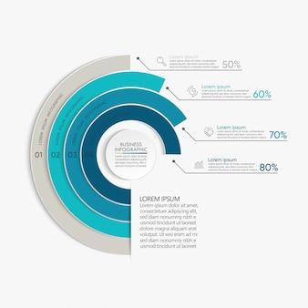 Presentatie zakelijke infographic sjabloon met 4 opties.