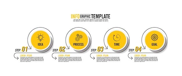 Presentatie zakelijke infographic sjabloon met 4 stappen