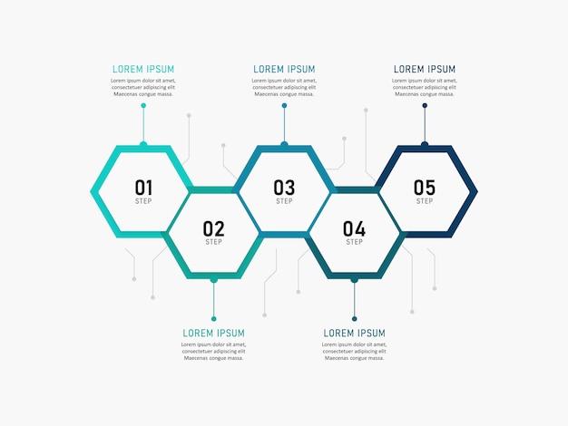 Presentatie zakelijke infographic sjabloon met 5 opties. illustratie.