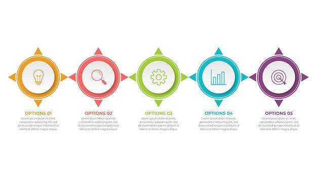 Presentatie zakelijke infographic sjabloon met 5 opties