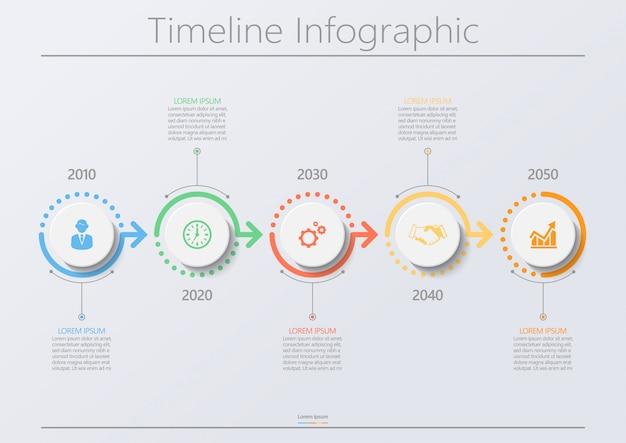Presentatie zakelijke infographic sjabloon met 5 opties.