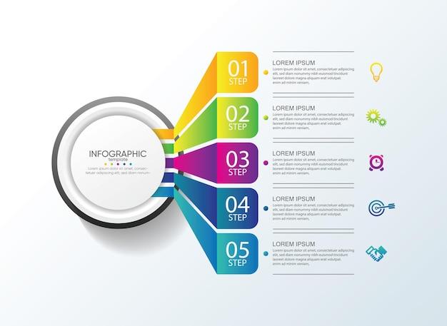 Presentatie zakelijke infographic sjabloon met 5 stappen Premium Vector