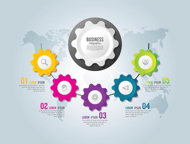 Presentatie zakelijke infographic sjabloon met 5 stappen