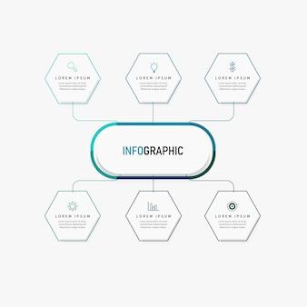 Presentatie zakelijke infographic sjabloon met 6 opties. illustratie.