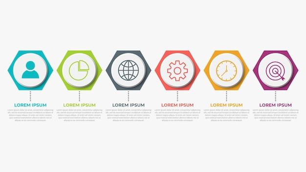 Presentatie zakelijke infographic sjabloon met 6 opties Premium Vector