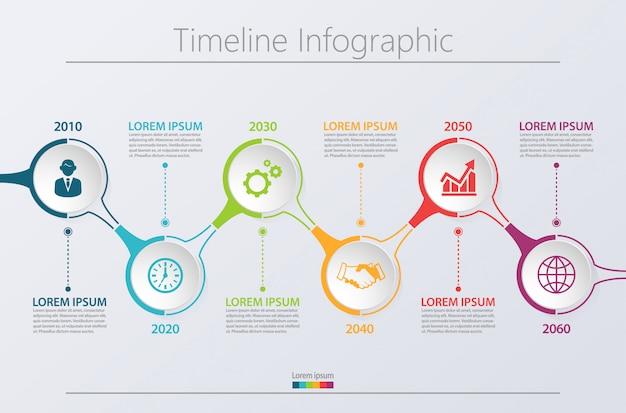 Presentatie zakelijke infographic sjabloon met 6 opties.