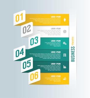 Presentatie zakelijke infographic sjabloon met 6 stappen