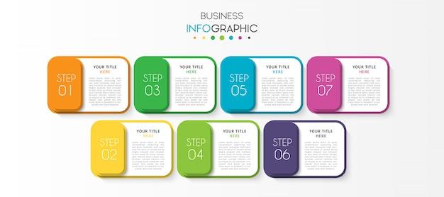 Presentatie zakelijke infographic sjabloon met 7 opties of stappen