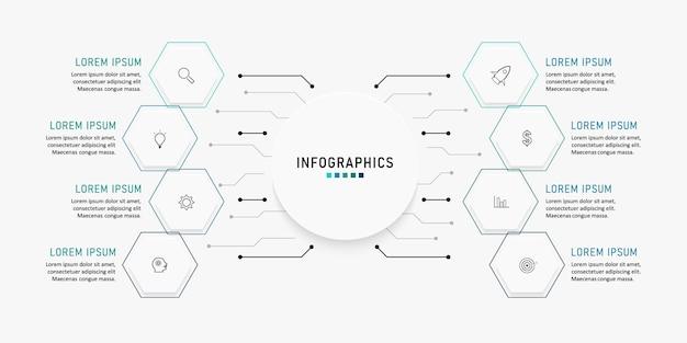 Presentatie zakelijke infographic sjabloon met 8 opties. illustratie.
