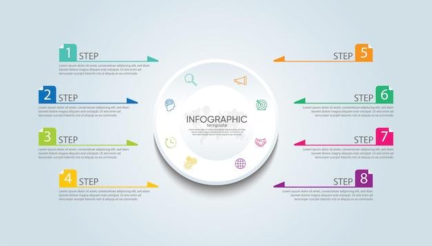 Presentatie zakelijke infographic sjabloon met 8 stappen