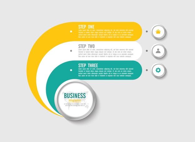 Presentatie zakelijke infographic sjabloon met drie stappen