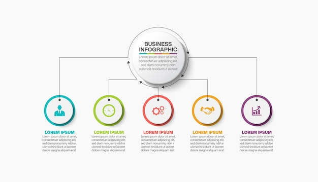 Presentatie zakelijke infographic sjabloon met opties.
