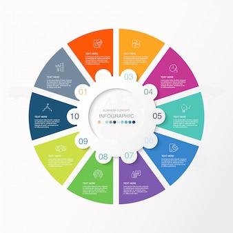 Presentatie zakelijke infographic sjabloon met pictogrammen en 10 opties of stappen.