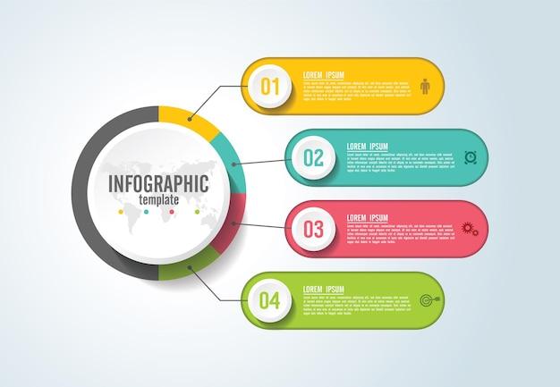 Presentatie zakelijke infographic sjabloon met stap