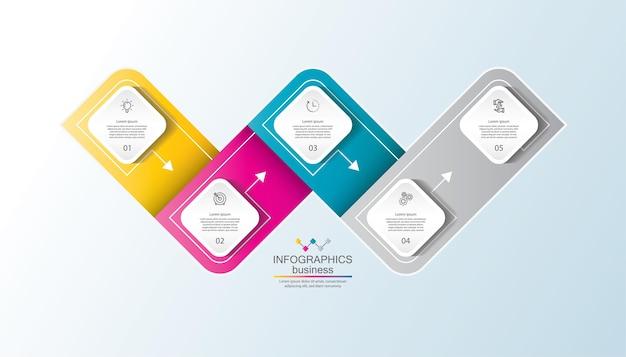 Presentatie zakelijke infographic sjabloon met stappen
