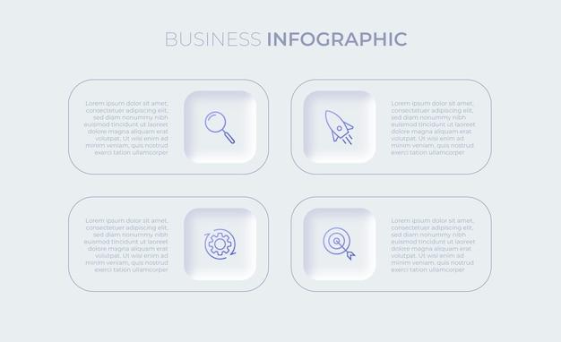 Presentatie zakelijke infographic sjabloon met vier opties premium vector