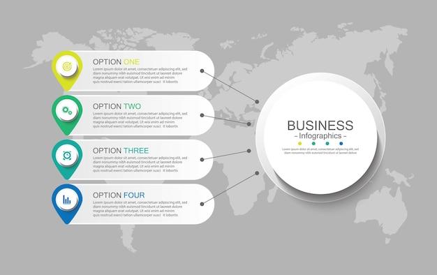 Presentatie zakelijke infographic sjabloon met vier stappen