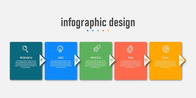 Presentatie zakelijke infographic sjabloon met vijf opties