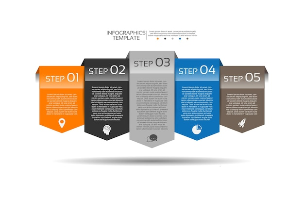 Presentatie zakelijke infographic sjabloon met vijf stappen