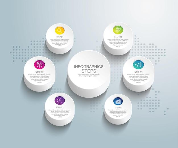 Presentatie zakelijke infographic sjabloon met zes stappen