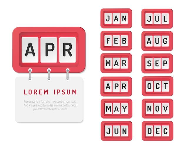 Presentatie zakelijke infographic sjabloon voor alle maanden.