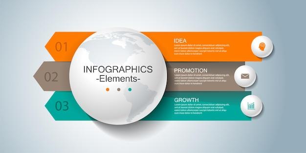 Presentatie zakelijke infographic sjabloonelementen met drie stappen