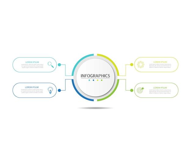 Presentatie zakelijke infographics sjabloon met 4 opties