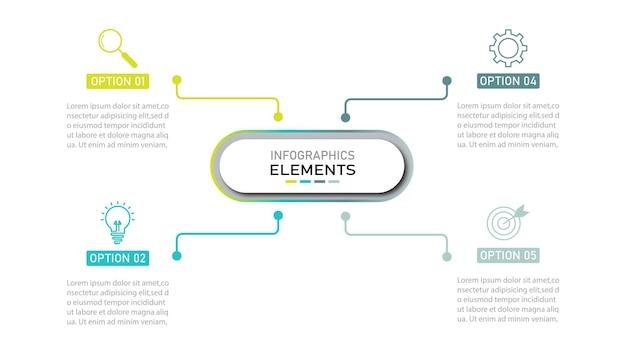 Presentatie zakelijke infographics sjabloon met 4 opties.