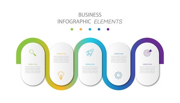Presentatie zakelijke infographics sjabloon met 5 opties