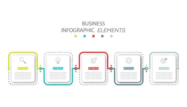 Presentatie zakelijke infographics sjabloon met 5 opties.