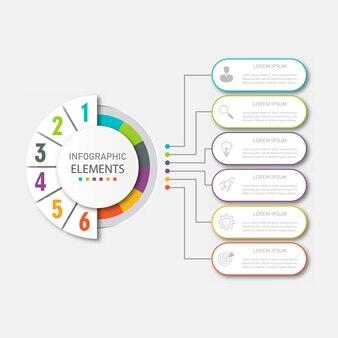 Presentatie zakelijke infographics sjabloon met 6 opties