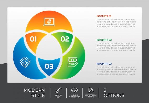 Presentatie zakelijke optie infographic met moderne stijl en kleurrijke concept. 3 stappen van infographic