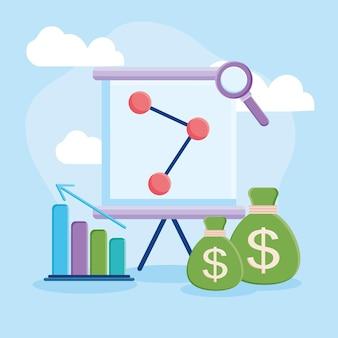 Presentatiebord met geldzakjes
