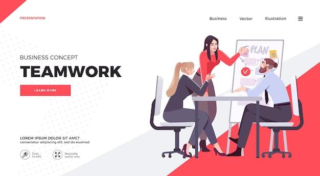 Presentatiedia-sjabloon of website-ontwerp van bestemmingspagina illustraties bedrijfsconcept