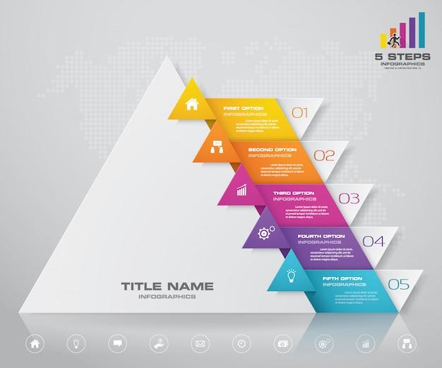 Presentatiegrafiek van 5 stappenpiramide. eps10.