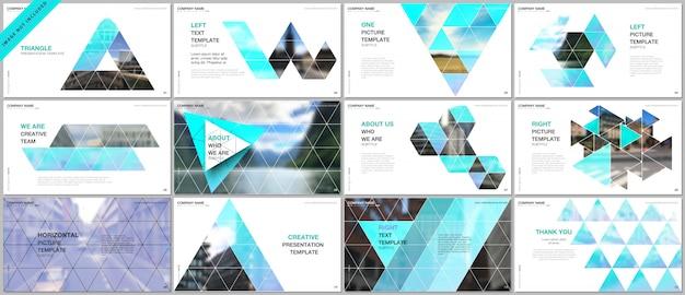Presentaties omvatten portfoliosjablonen met een driehoekig patroon