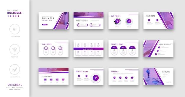 Presentatiesjabloon voor bedrijfskleur paars minimalistische stijl.