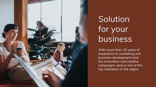 Presentatiesjabloon voor bedrijfsstrategie met oplossingsonderwerp