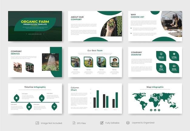Presentatiesjabloon voor biologische landbouw of powerpoint-presentatiesjabloon voor landbouwboerderijen