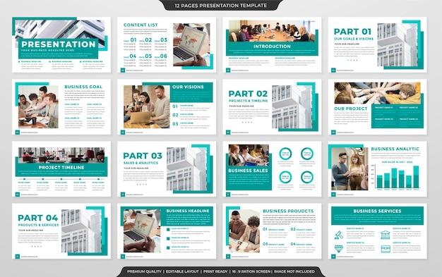 Presentatiesjabloonontwerp met schoon stijlgebruik voor zakelijk jaarverslag
