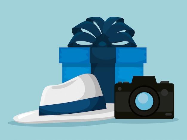 Presenteer met hoed en camera tot vaders dag