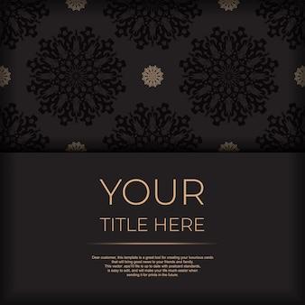 Presenteerbaar, drukklaar ansichtkaartontwerp in zwart met arabische patronen. uitnodigingskaartsjabloon met vintage ornament.
