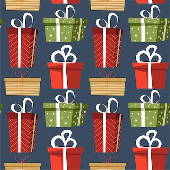 Presenteert en geschenken versierd met inpakpapier en strikken naadloos patroon