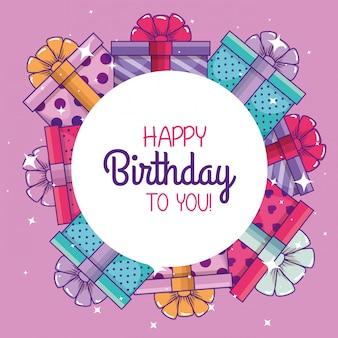 Presenteert geschenken decoratie om verjaardag te vieren