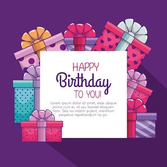 Presenteert geschenken decoratie op gelukkige verjaardag